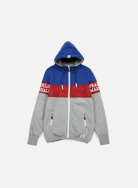 felpe franklin e marshall block zip hoodie sport grey