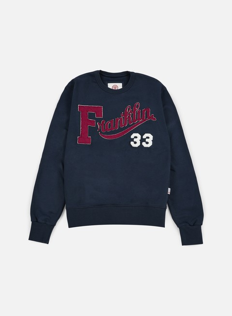 felpe franklin e marshall franklin embroidered crewneck navy