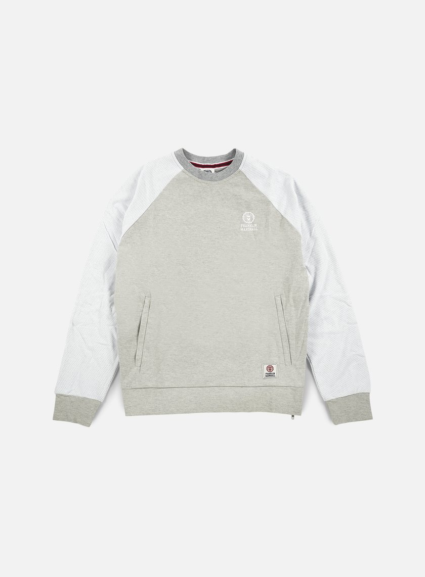 Franklin & Marshall - Mesh Raglan Crewneck Fleece, Original Grey Melange