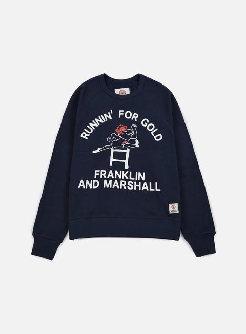 felpe franklin e marshall runnin for gold crewneck navy