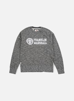 Franklin & Marshall - Velveto Big Logo Crewneck Fleece, Black Melange 1