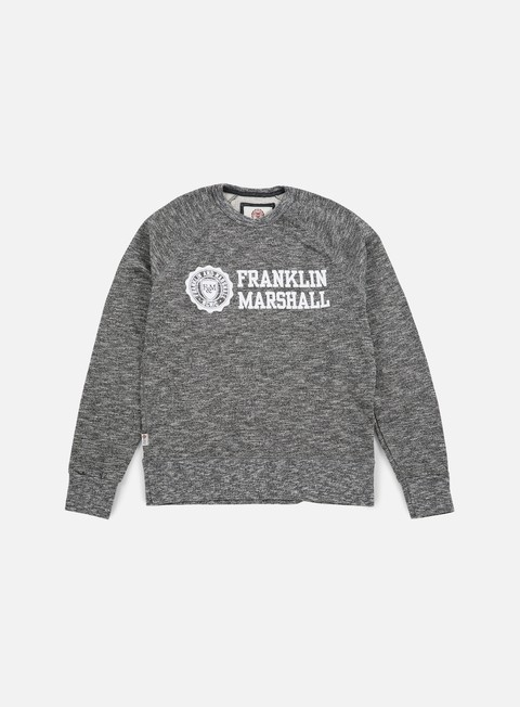 felpe franklin e marshall velveto big logo crewneck fleece black melange