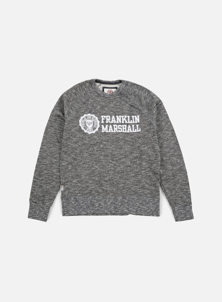 Franklin & Marshall - Velveto Big Logo Crewneck Fleece, Black Melange