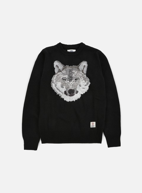 felpe franklin e marshall wolf crewneck sweater black