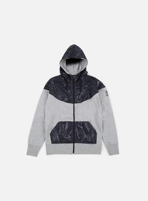 felpe franklin e marshall zip up hoodie fleece grey melange