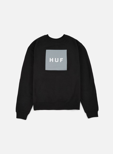 felpe huf box logo crewneck black grey