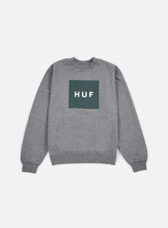 Huf - Box Logo Crewneck, Grey Heather/Green 1