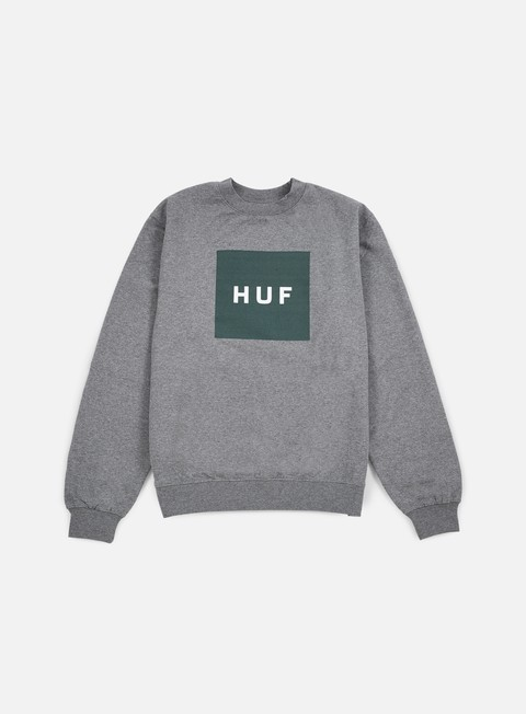 felpe huf box logo crewneck grey heather green