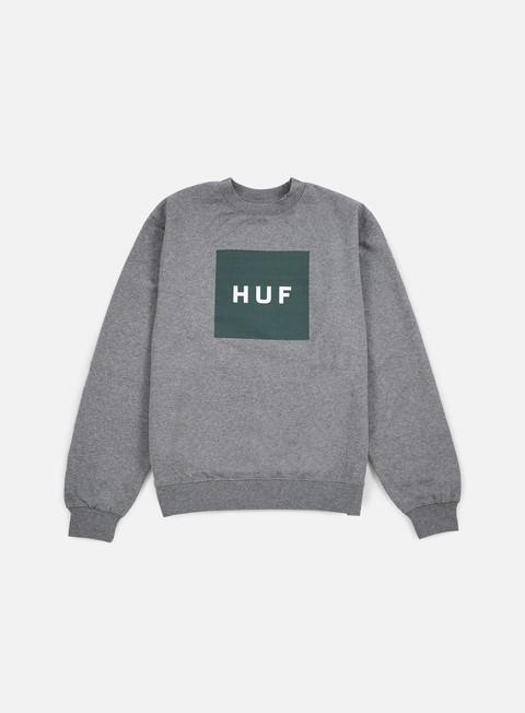 felpe huf box logo crewneck grey heather green