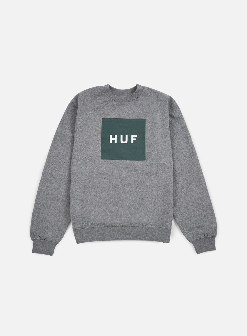 Huf - Box Logo Crewneck, Grey Heather/Green