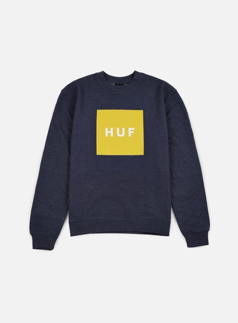 felpe huf box logo crewneck navy heather yellow