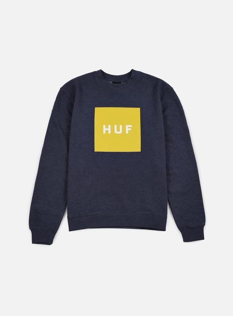 felpe huf box logo crewneck navy heather yellow