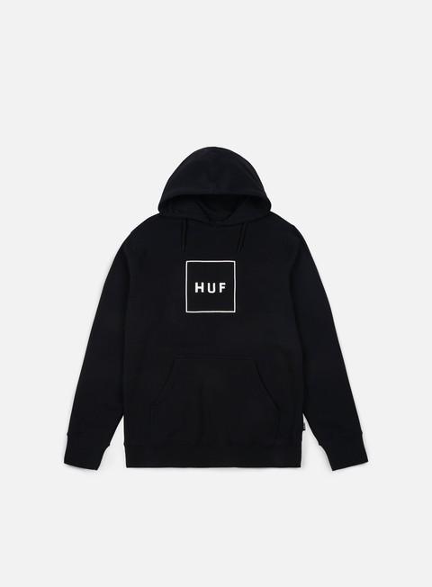 felpe huf box logo hoodie black white