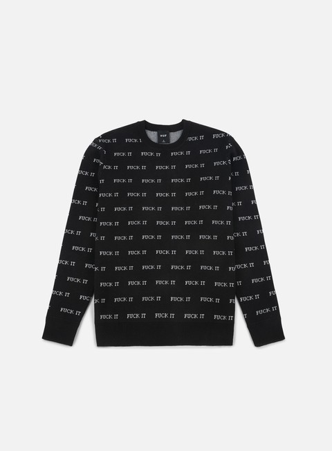 felpe huf fuck it jacquard sweater black