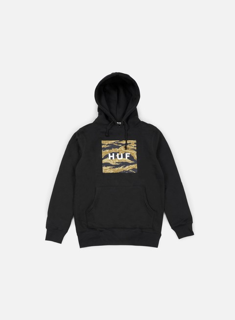 felpe huf golden camo stripe box logo hoodie black