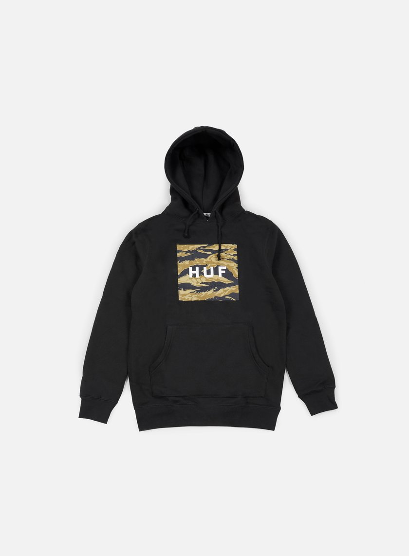 Huf - Golden Camo Stripe Box Logo Hoodie, Black