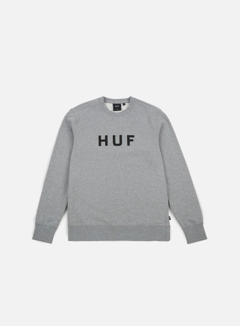 felpe huf original logo crewneck grey heather