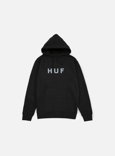 felpe huf original logo hoody black dark grey