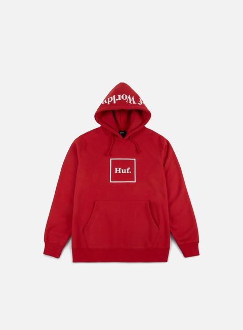 felpe huf outline box logo hoodie red