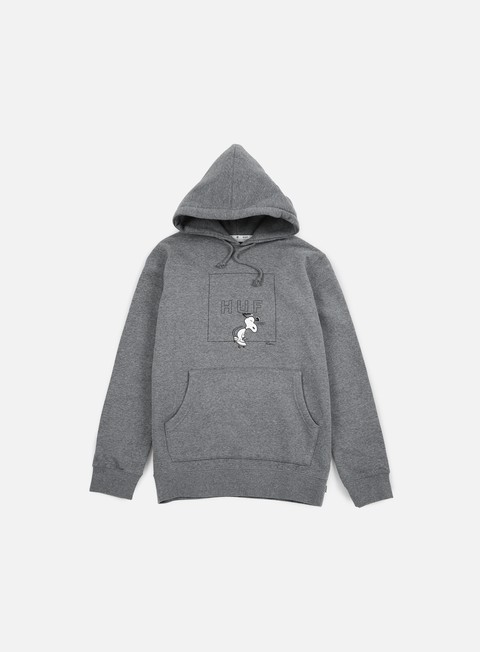 felpe huf peanuts snoopy box logo hoodie grey heather