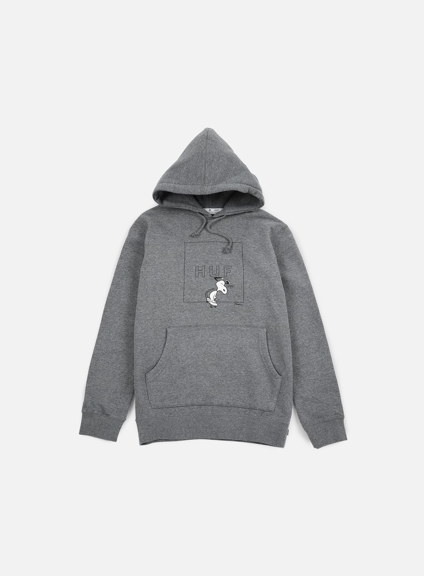 Huf - Peanuts Snoopy Box Logo Hoodie, Grey Heather