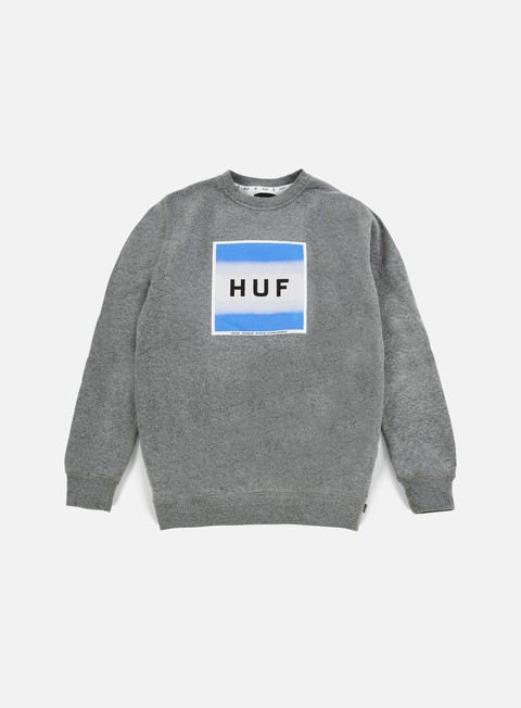 felpe huf poster box logo crewneck grey heather
