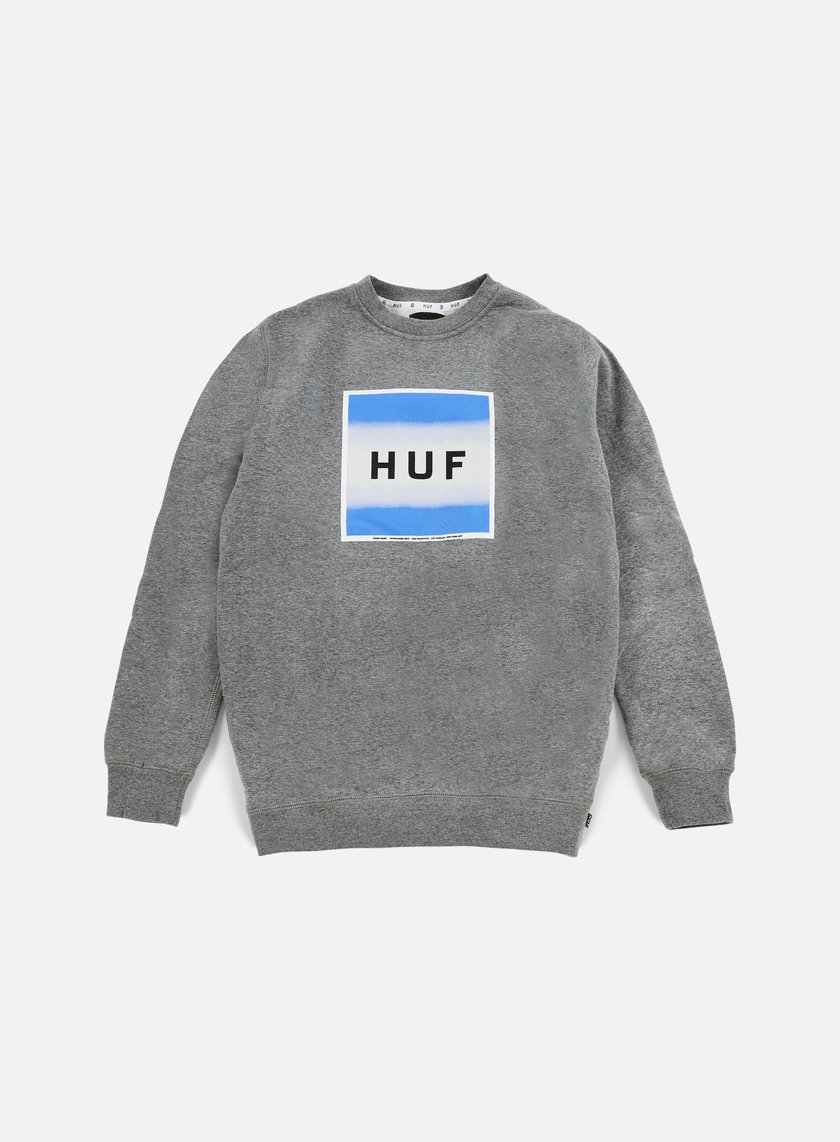 Huf - Poster Box Logo Crewneck, Grey Heather