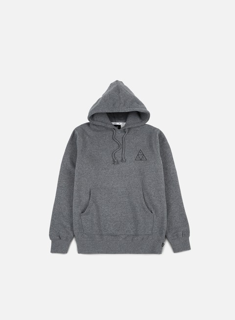 felpe huf roses triple triangle hoodie grey heather