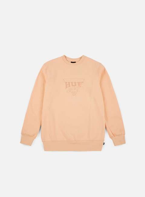 felpe huf sport fleece crewneck peach