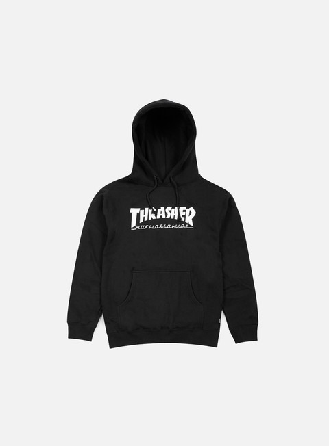 felpe huf thrasher classic h hoodie black