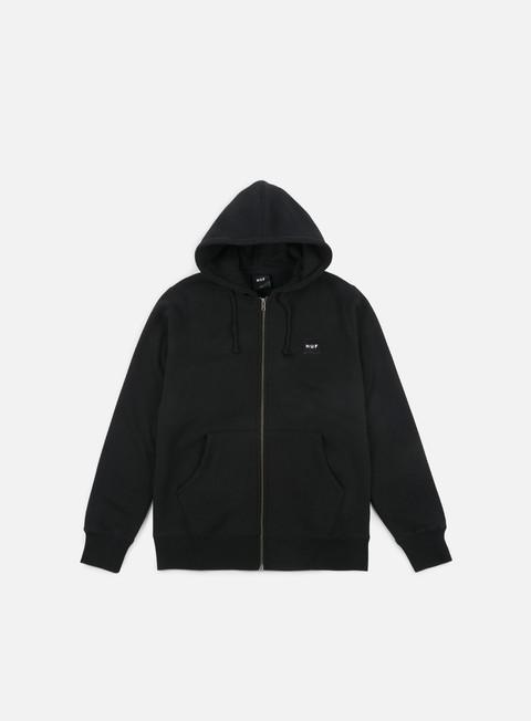 felpe huf woven label zip hoodie black
