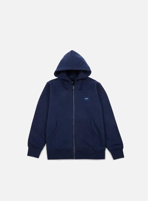 felpe huf woven label zip hoodie navy