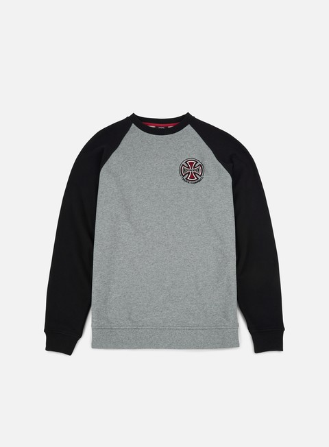 felpe independent truck co raglan crewneck black dark heather
