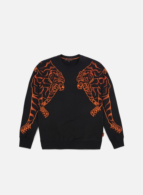 felpe iuter double nepal crewneck black orange