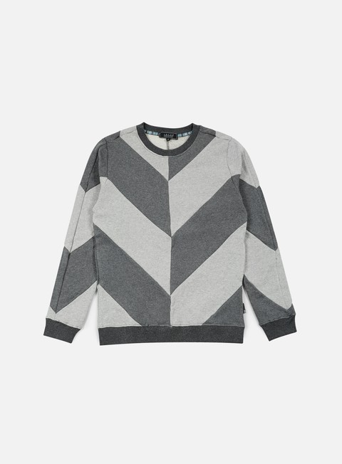 felpe iuter five vee insert crewneck dark grey white