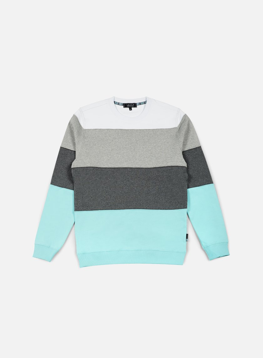 Iuter - Rule Stripes Insert Crewneck, Lagoon