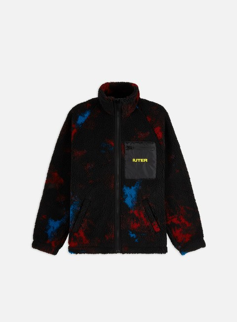 Intermediate Jackets Iuter Tie Dye Fur Zip Mock Neck