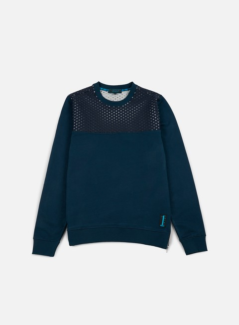 felpe iuter vent perforated neoprene insert crewneck deep blue