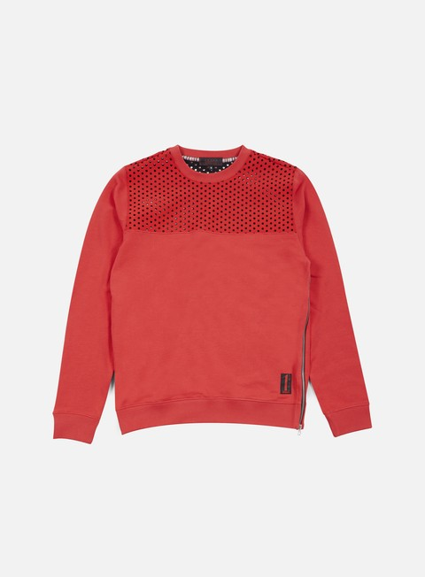 felpe iuter vent perforated neoprene insert crewneck red