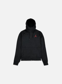 Jordan - 360 Fleece Full Zip Hoodie, Black/Gym Red