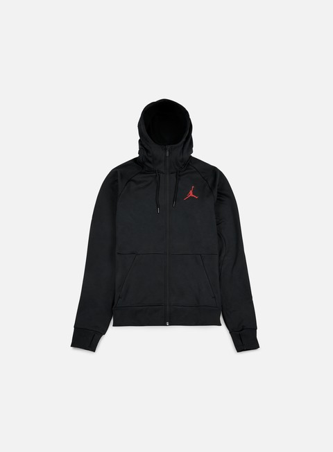 felpe jordan 360 fleece full zip hoodie black gym red