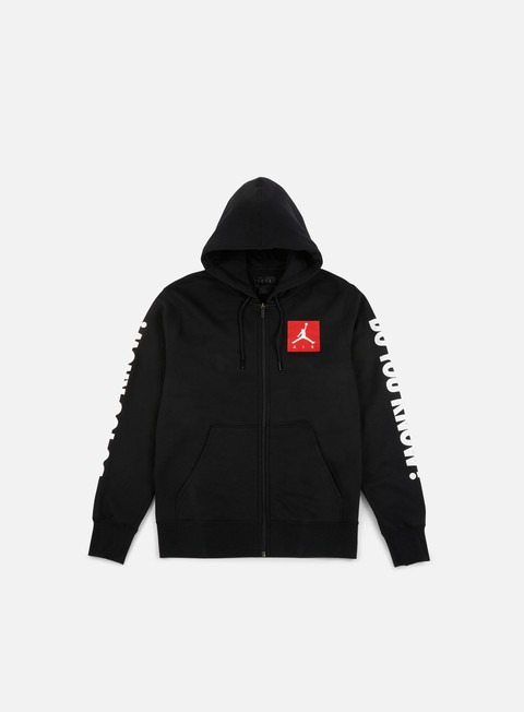 felpe jordan aj 3 flight full zip hoodie black white