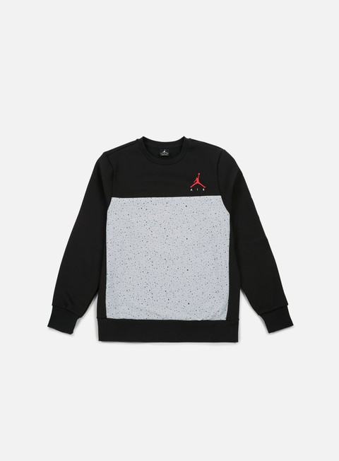 felpe jordan flight fleece cement crewneck black