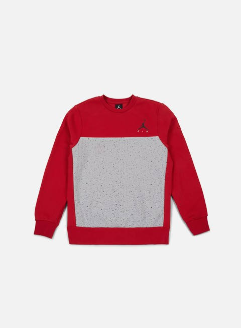 felpe jordan flight fleece cement crewneck gym red