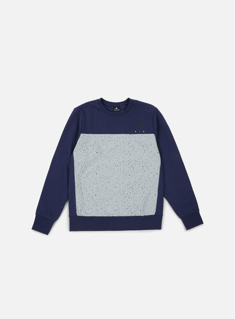 felpe jordan flight fleece cement crewneck midnight navy