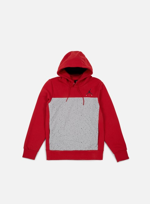 felpe jordan flight fleece cement hoodie gym red