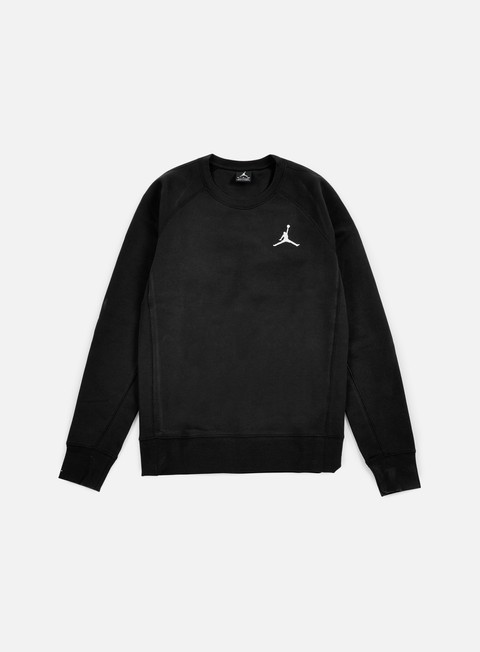 felpe jordan flight fleece crewneck black white