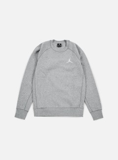 Jordan - Flight Fleece Crewneck, Dark Grey Heather/White 1