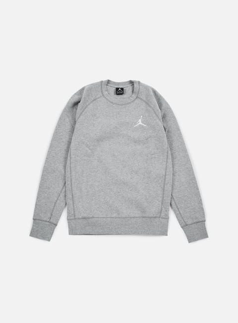 felpe jordan flight fleece crewneck dark grey heather white