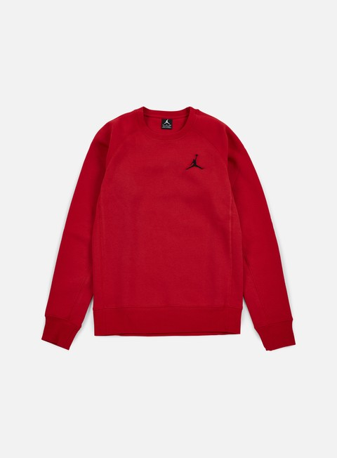 felpe jordan flight fleece crewneck gym red black